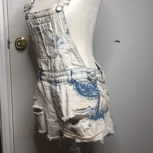 Almost Famous Shorts - Distressed Acid Wash Overall Shorts
